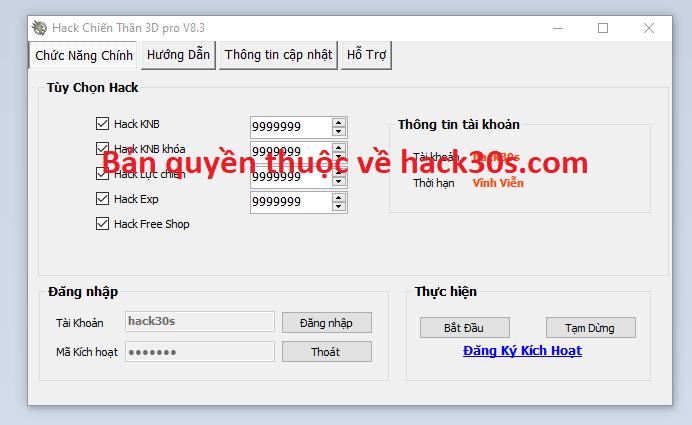 Hack Chiến Thần 3D miễn phí Chienthan3daa